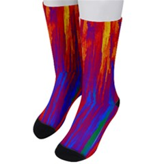 Gay Pride Rainbow Vertical Paint Strokes Men s Crew Socks by VernenInkPride