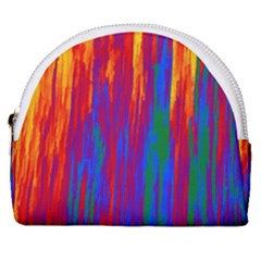 Gay Pride Rainbow Vertical Paint Strokes Horseshoe Style Canvas Pouch by VernenInkPride