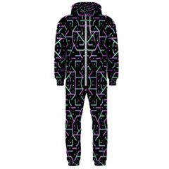 Lines And Dots Motif Geometric Seamless Pattern Hooded Jumpsuit (men)