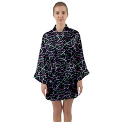Lines And Dots Motif Geometric Seamless Pattern Long Sleeve Satin Kimono by dflcprintsclothing