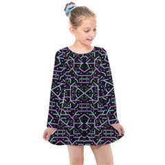 Lines And Dots Motif Geometric Seamless Pattern Kids  Long Sleeve Dress