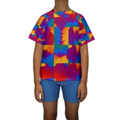 Gay Pride Rainbow Painted Abstract Squares Pattern Kids  Short Sleeve Swimwear by VernenInkPride