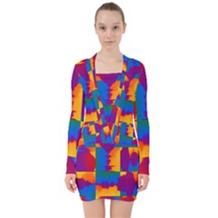 Gay Pride Rainbow Painted Abstract Squares Pattern V-neck Bodycon Long Sleeve Dress by VernenInkPride