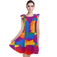 Gay Pride Rainbow Painted Abstract Squares Pattern Tie Up Tunic Dress by VernenInkPride