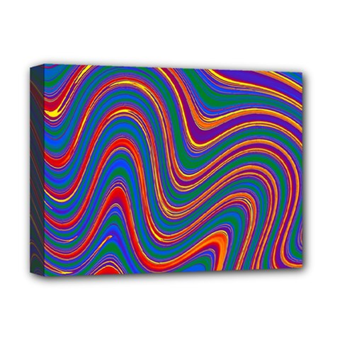 Gay Pride Rainbow Wavy Thin Layered Stripes Deluxe Canvas 16  X 12  (stretched)