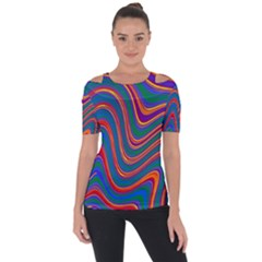 Gay Pride Rainbow Wavy Thin Layered Stripes Shoulder Cut Out Short Sleeve Top