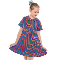 Gay Pride Rainbow Wavy Thin Layered Stripes Kids  Short Sleeve Shirt Dress by VernenInkPride