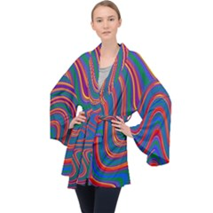 Gay Pride Rainbow Wavy Thin Layered Stripes Long Sleeve Velvet Kimono  by VernenInkPride
