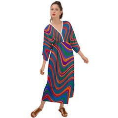 Gay Pride Rainbow Wavy Thin Layered Stripes Grecian Style  Maxi Dress by VernenInkPride