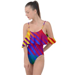 Gay Pride Rainbow Diagonal Striped Checkered Squares Drape Piece Swimsuit by VernenInkPride
