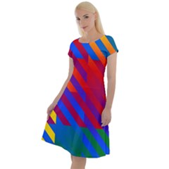 Gay Pride Rainbow Diagonal Striped Checkered Squares Classic Short Sleeve Dress by VernenInkPride