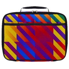 Gay Pride Rainbow Diagonal Striped Checkered Squares Full Print Lunch Bag
