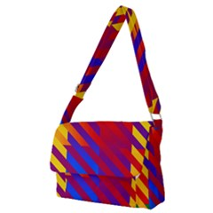 Gay Pride Rainbow Diagonal Striped Checkered Squares Full Print Messenger Bag (m) by VernenInkPride