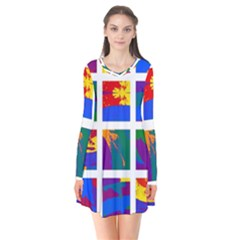 Gay Pride Rainbow Abstract Painted Squares Grid Long Sleeve V-neck Flare Dress by VernenInkPride