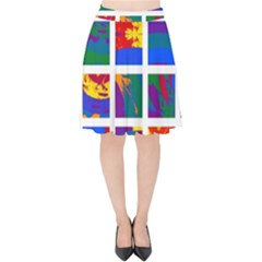 Gay Pride Rainbow Abstract Painted Squares Grid Velvet High Waist Skirt
