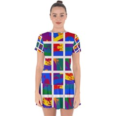 Gay Pride Rainbow Abstract Painted Squares Grid Drop Hem Mini Chiffon Dress by VernenInkPride