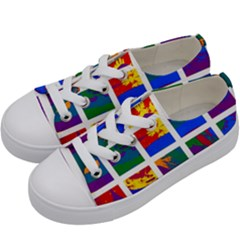 Gay Pride Rainbow Abstract Painted Squares Grid Kids  Low Top Canvas Sneakers by VernenInkPride