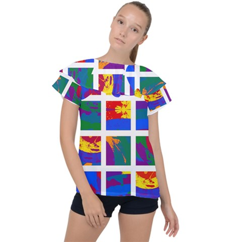 Gay Pride Rainbow Abstract Painted Squares Grid Ruffle Collar Chiffon Blouse by VernenInkPride