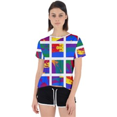Gay Pride Rainbow Abstract Painted Squares Grid Open Back Sport Tee