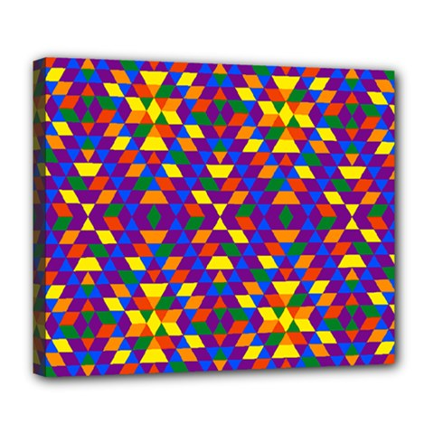 Gay Pride Geometric Diamond Pattern Deluxe Canvas 24  X 20  (stretched) by VernenInkPride