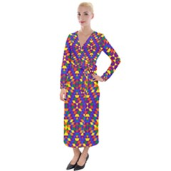Gay Pride Geometric Diamond Pattern Velvet Maxi Wrap Dress by VernenInkPride