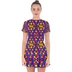 Gay Pride Geometric Diamond Pattern Drop Hem Mini Chiffon Dress by VernenInkPride