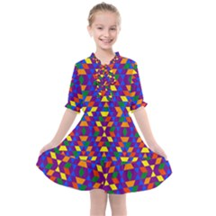 Gay Pride Geometric Diamond Pattern Kids  All Frills Chiffon Dress by VernenInkPride