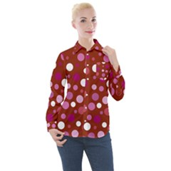Lesbian Pride Flag Scattered Polka Dots Women s Long Sleeve Pocket Shirt