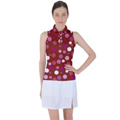 Lesbian Pride Flag Scattered Polka Dots Women s Sleeveless Polo Tee