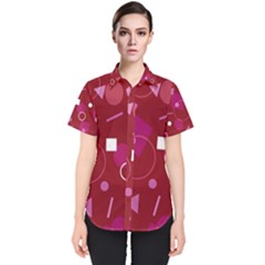 Lesbian Pride Flag Retro Shapes Pattern Women s Short Sleeve Shirt