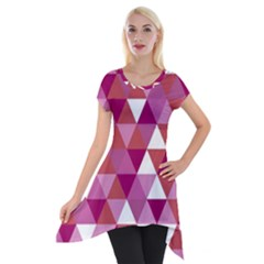 Lesbian Pride Alternating Triangles Short Sleeve Side Drop Tunic