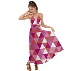 Lesbian Pride Alternating Triangles Backless Maxi Beach Dress by VernenInkPride