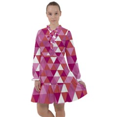 Lesbian Pride Alternating Triangles All Frills Chiffon Dress by VernenInkPride