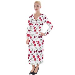 Cute Cherry Pattern Velvet Maxi Wrap Dress