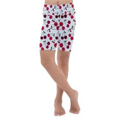 Cute Cherry Pattern Kids  Lightweight Velour Cropped Yoga Leggings