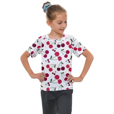 Cute Cherry Pattern Kids  Mesh Piece Tee by TastefulDesigns