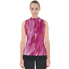 Lesbian Pride Abstract Smokey Shapes Mock Neck Shell Top by VernenInkPride