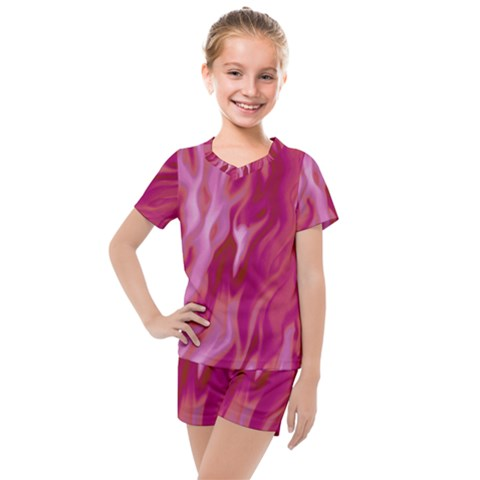 Lesbian Pride Abstract Smokey Shapes Kids  Mesh Tee And Shorts Set by VernenInkPride
