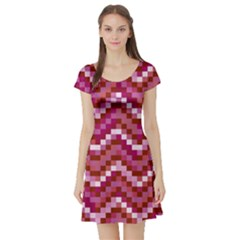 Lesbian Pride Pixellated Zigzag Stripes Short Sleeve Skater Dress