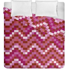 Lesbian Pride Pixellated Zigzag Stripes Duvet Cover Double Side (king Size) by VernenInkPride