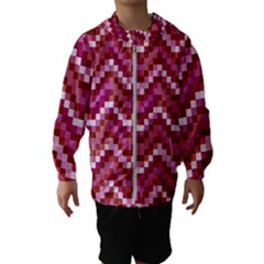 Lesbian Pride Pixellated Zigzag Stripes Kids  Hooded Windbreaker by VernenInkPride