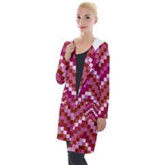 Lesbian Pride Pixellated Zigzag Stripes Hooded Pocket Cardigan by VernenInkPride