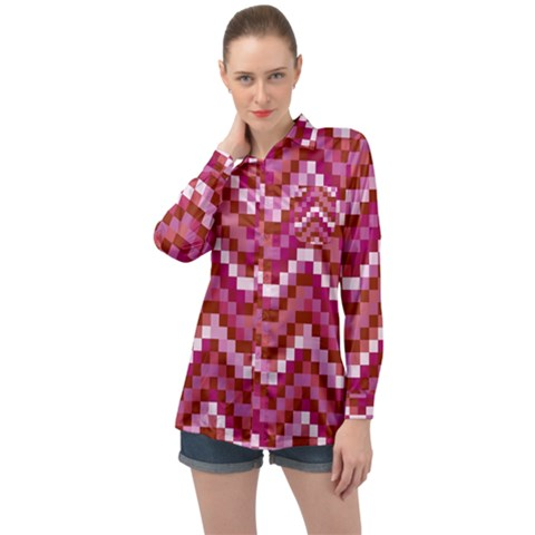 Lesbian Pride Pixellated Zigzag Stripes Long Sleeve Satin Shirt by VernenInkPride