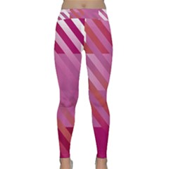 Lesbian Pride Diagonal Stripes Colored Checkerboard Pattern Classic Yoga Leggings