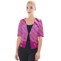 Lesbian Pride Diagonal Stripes Colored Checkerboard Pattern Cropped Button Cardigan by VernenInkPride