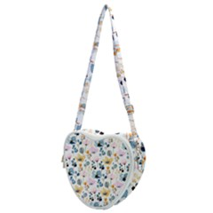 Watercolor Floral Seamless Pattern Heart Shoulder Bag