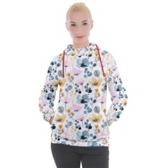 Watercolor Floral Seamless Pattern Women s Hooded Pullover by TastefulDesigns