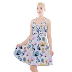 Watercolor Floral Seamless Pattern Halter Party Swing Dress  by TastefulDesigns