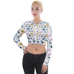 Watercolor Floral Seamless Pattern Long Sleeve Cropped Velvet Jacket by TastefulDesigns