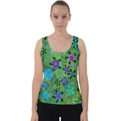 Green Garden Revised For Tiling Velvet Tank Top by AnnickOfTheWildGrass